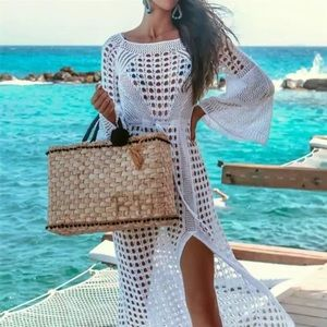 Other - ✨JUST IN✨SALE!✨NEW CROCHET SLIT LONG COVERUP DRESS